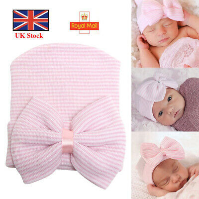 Baby Girls Infant Striped Soft Hat with Bow Cap Hospital Newborn Boy Beanie Hat