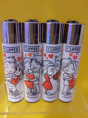4 x Clipper Lighters Valentine's IN LOVE NEW SET Gas Lighter Refillable