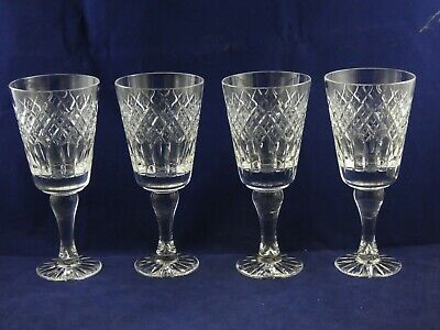 Four 4 Beautiful Good Quality Cut Crystal Large Wine Glasses