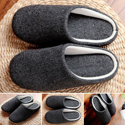 Mens Fashion Winter Fur Lined Memory Foam Mules Slippers Warm House Shoes Sizes