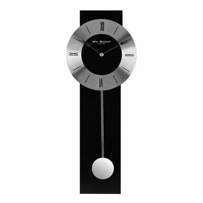 Modern Black & Silver Wall Clock With Pendulum. New And Boxed.