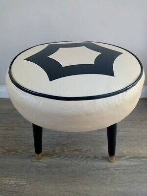 Vintage 1960's Sherborne Cream and Black Faux Leather Footstool