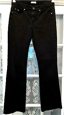 Women's Black Pants Size 8 Medium Lee Stretch Mid-Rise Flared Leg 33X31