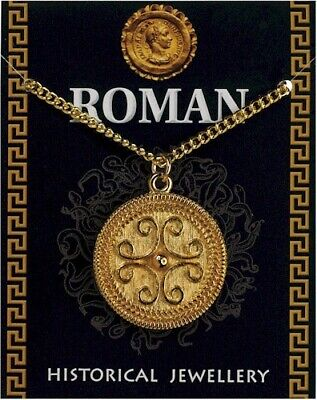 Roman Filigree Scroll Gold Plated Pewter Pendant On A Chain