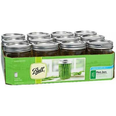 Ball Glass Mason Jar With Lid & Band, Wide Mouth, 16 Ounces, 12 Count