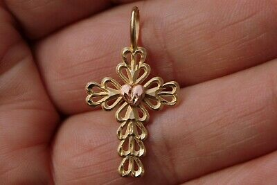 28mm x 14mm Mia Diamonds 14k Solid Gold Two-Tone Gold Inri Crucifix Pendant