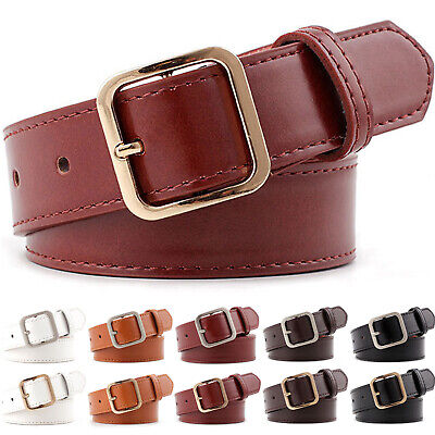 Women's Classic Jean Belt Handcrafted Faux Leather Wide Square Buckle Waistband