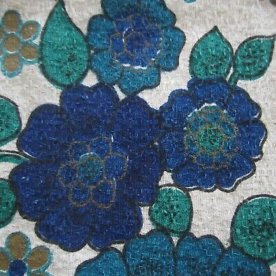 44cm x 120cm Blue Floral Barkcloth Vintage Textured Cotton Curtain Fabric 1960s