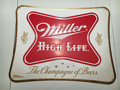 Miller High Life - The Champagne of Beers - Metal Tin Tacker Beer Sign