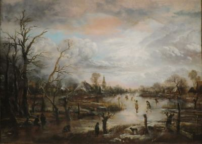 "oil painting handpainted on canvas""Winter Scene with Figures Playing Kolf ""N6233"