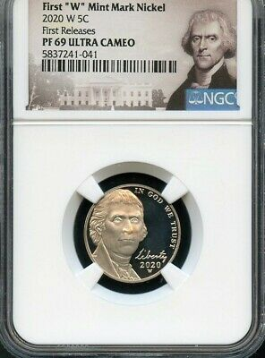 "2020 W First ""W"" Mint Mark Nickel First Releases NGC PF69 Ultra Cameo Portrait"