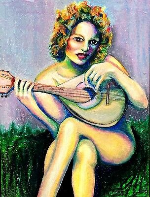 "perfect oil painting handpainted on canvas""The woman playing the guitar""@7511"