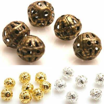DIY 200X Silver/Gold/Copper/Metal Ball Spacer Beads 4/6/8mm Hollow Flower