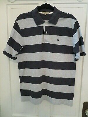 Burberry London Gray Wide Striped Polo Shirt Mens Size S