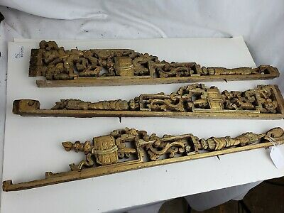 Antique chinese carved wood panels, ca. 1900 or earlier, three pieces