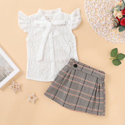 2Pcs Summer Kids Baby Girl Lace Bowknot Tie Tops + Plaids Skirt Dress Clothes