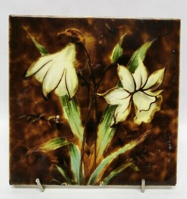 """Victorian Majolica Daffodil Floral Tile Fireplace Wall Art Nouveau 6"""" c1890"""