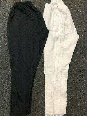 2 x PAIRS OF PAKISTANI EMBROIDERED LINEN TROUSERS MED SIZE WHITE & BLACK CHEAP