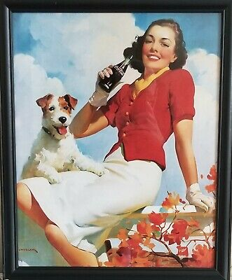 Coca-Cola (Coke) Pictures - Set of 2 - Lady and Dog / Mother and Daughter