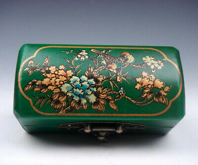 Green Finish Leather Birds & Flowers Hand Painted Wooden Jewelry Box #03142015