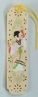Vintage Japanese Painted Wooden Bookmarks - Circa 1948 - Handmade/Hand Painted
