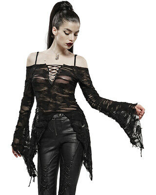 Punk Rave Womens Gothic Butterfly Tunic Top Black Shredded Destroyed Apocalyptic