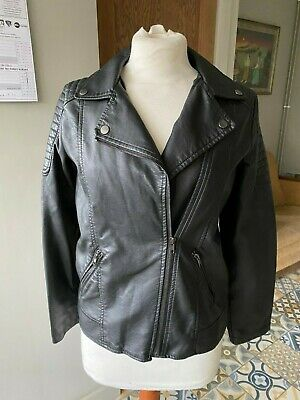 Girls Ladies YD Black Faux Leather Biker Style Jacket Age 12/13 UK 8 EU 36