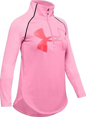Under Armour Tech 2.0 Half Zip Long Sleeve Girls Junior Running Top - Pink