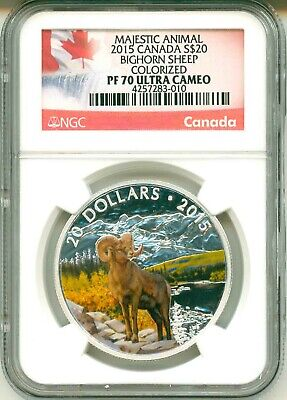 2015 Canada S$20 Majestic Animals Bighorn Sheep Colorized NGC PF70 Ultra Cameo