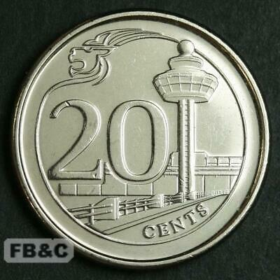 2013 Singapore 20 Cents Coin KM#347 Changi Airport - High Grade