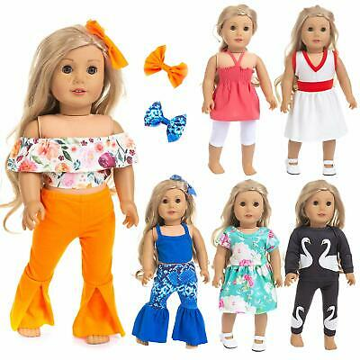 """6 Casual Outfits for American 18"""" Girl Doll Dress / Clothes / Hair Clip / Pants"""