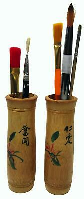Japan Bamboo Sumi-e Calligraphy Paint Brush Pots Signed 18 cm Tall