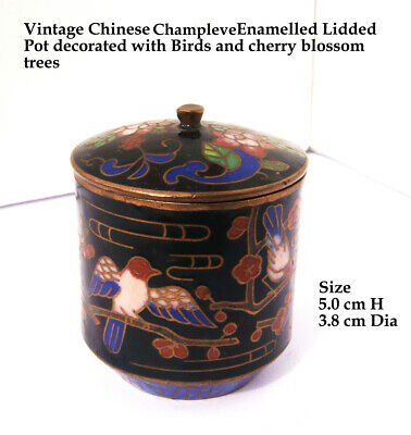 Vintage Chinese Champlevé black enamel with BIRDS on branches design lidded Pot