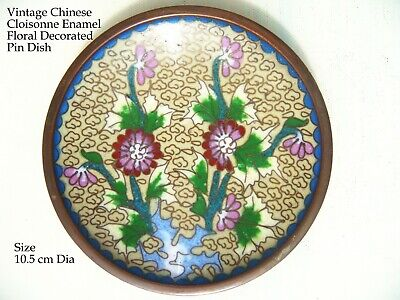 Vintage Chinese Cloisonne Cream enamel with coloured flowers & vine pin dish