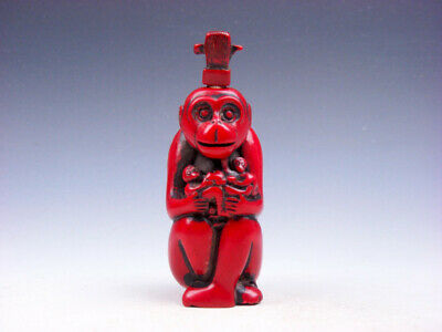 Coral Red Glazed Monkey King Holding Baby Monkeys Carved Snuff Bottle #03142016