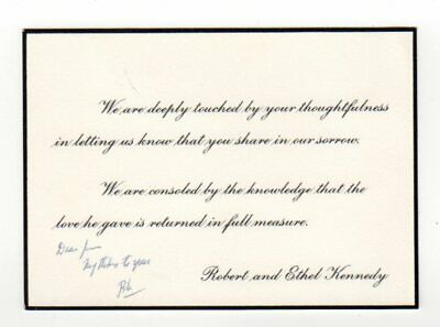 JFK Condolence Response Card Sent By Robert Kennedy to Mob Boss - SIGNED