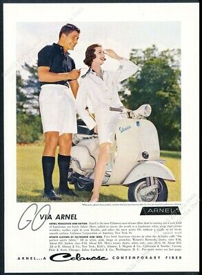 1957 Vespa scooter moped color photo Celanese Arnel fabric vintage print ad