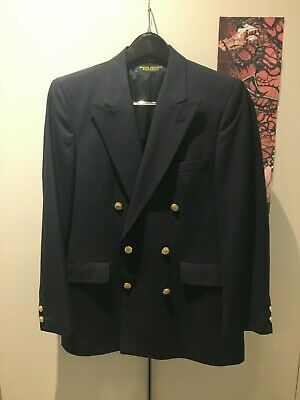 """Brooks Brothers Brooksgate Navy Wool Gold Button Double Breasted Blazer S 38"""""""