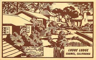 Roadside Postcard Lobos Lodge, Carmel, California - Wood Block Print-like