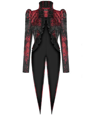Punk Rave Womens Gothic Tailcoat Swallowtail Jacket Black Red Steampunk Vampire