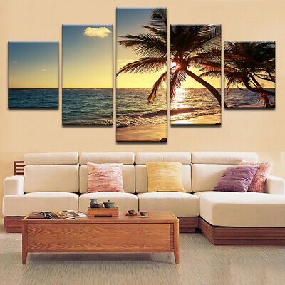5 Pcs Sunset Beach Canvas Printing Picture Modern Art Wall Decor Frameless UK