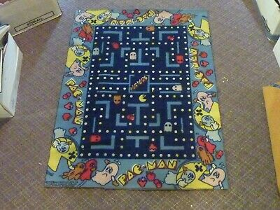 Vintage Pac-Man Carpet Rug 1980s Midway Bally Official Pacman Retro Rare 4X3 FT
