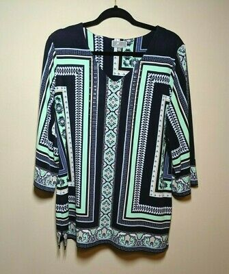 JM Collection Womens Size XL 3/4 Sleeve Tunic Top Mint Navy Blue