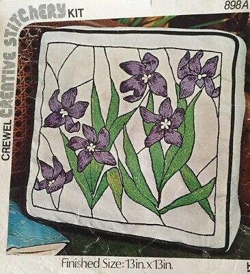 Rare Vintage 'STAINED GLASS VIOLETS' Crewel Needlepoint Embroidery Kit #898A USA