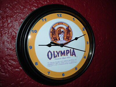 Olympia OLY Beer Bar Man Cave Advertising Black Wall Clock Sign