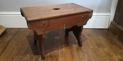 Vintage Wooden Rustic Cracket Stool Decorative, Cottage Farmhouse SOLID WOOD
