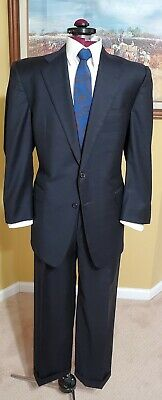 Hickey Freeman Madison Blue Windowpane Two Button Wool Suit 42Rx34W