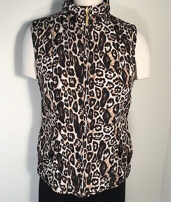 cb womens quilted leopard vest reversible to brown full zipper size M