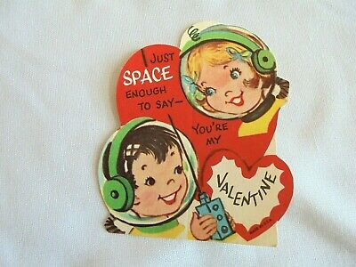 Vintage 1950s / 1960s Valentine's Day Card Kids In Atomic Space Helmets