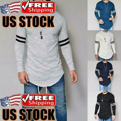 Men's Slim Crew Neck Long Sleeve Muscle Tee Shirts Casual T-shirt Tops Blouse US